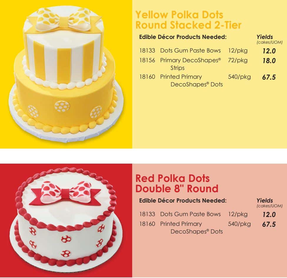 Yellow Polka Dots Round Stacked 2-Tier Edible Décor Products Needed: Yields (cakes/UOM) 18133 Dots Gum