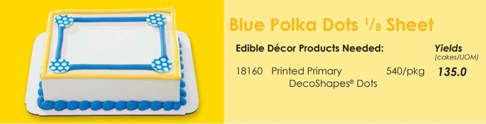 Blue Polka Dots 1 / 8 Sheet Edible Décor Products Needed: Yields (cakes/UOM) 18160 Printed