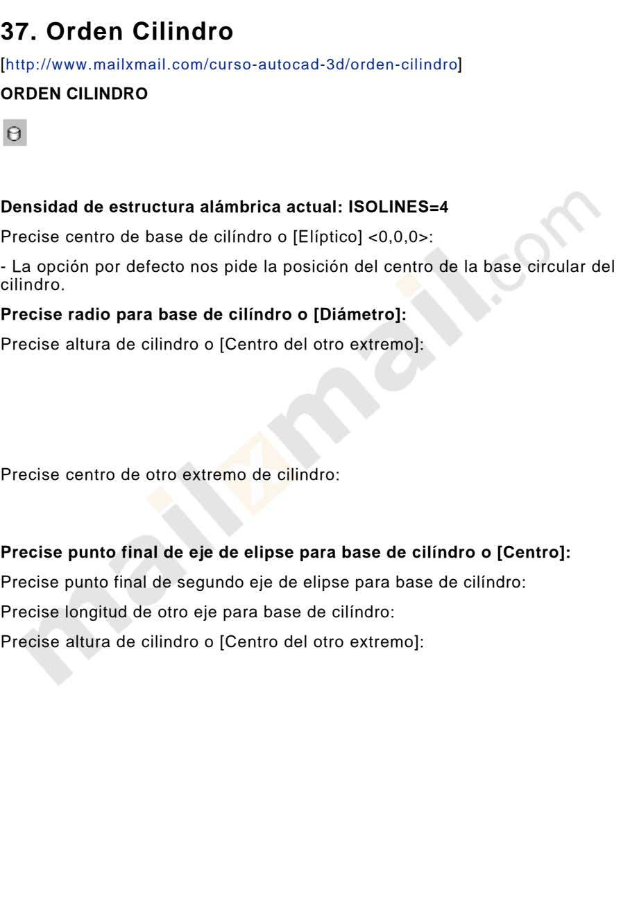 37. Orden Cilindro [http://www.mailxmail.com/curso-autocad-3d/orden-cilindro] ORDEN CILINDRO Densidad de estructura