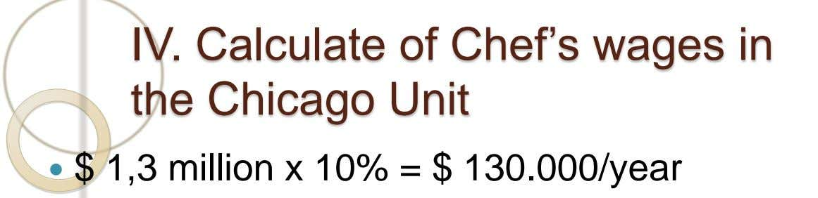 IV. Calculate of Chef's wages in the Chicago Unit  $ 1,3 million x 10% =