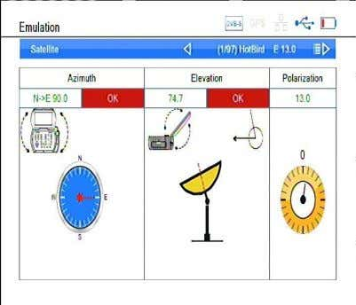 azimuth set correct, the right item will display ok 1. Description of Menu Item 1) Satellite: