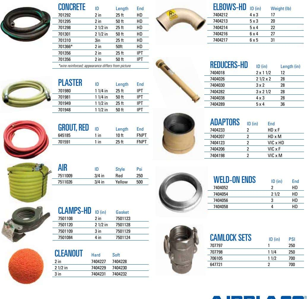 CONCRETE ELBOWS-HD ID (in) ID Length End Weight (lb) 701292 2 in 25 ft HD