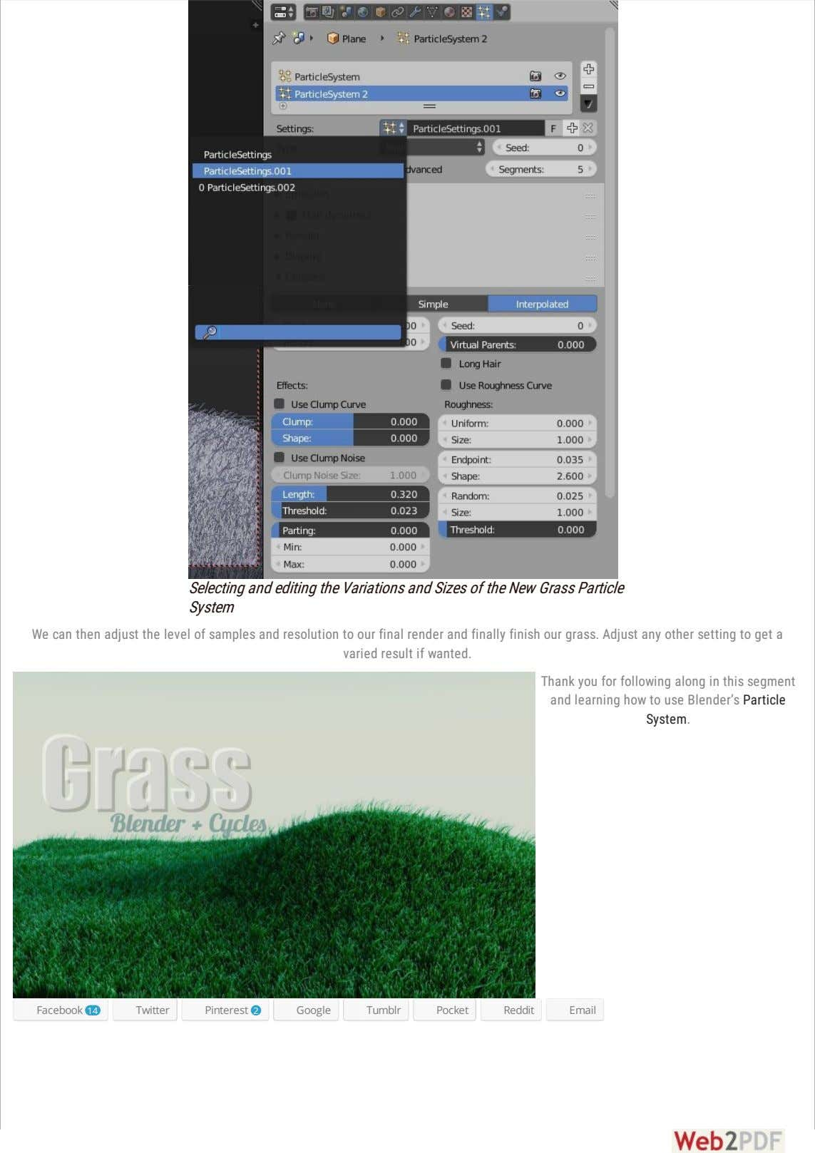 Selecting and editing the Variations and Sizes of the New Grass Particle System We can