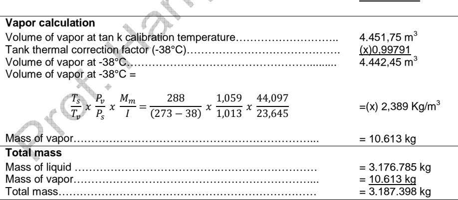 Vapor calculation Volume of vapor at tan k calibration temperature……………………… Tank thermal correction