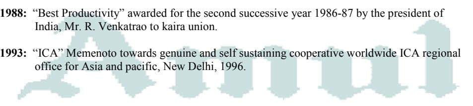 "1988: ""Best Productivity"" awarded for the second successive year 1986-87 by the president of India,"