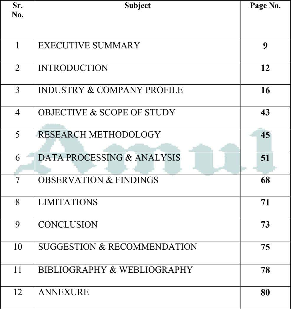 Sr. Subject Page No. No. 1 EXECUTIVE SUMMARY 9 2 INTRODUCTION 12 3 INDUSTRY &