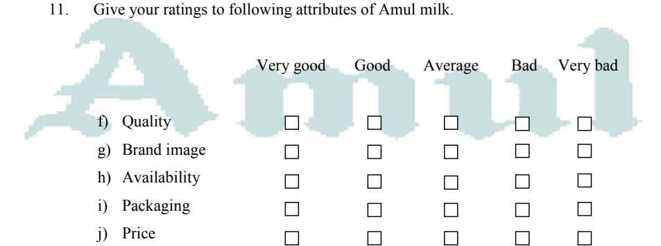 11. Give your ratings to following attributes of Amul milk. Very good Good Average Bad