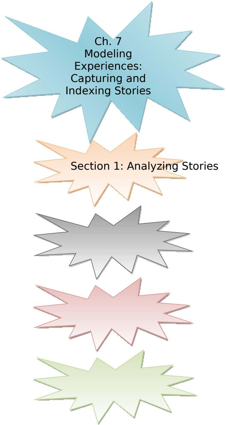 Ch. 7 Modeling Experiences: Capturing and Indexing Stories Section 1: Analyzing Stories