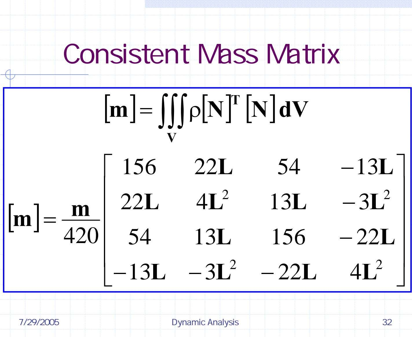 Consistent Mass Matrix [ ] ][ T m ρ [ N N dV ] =
