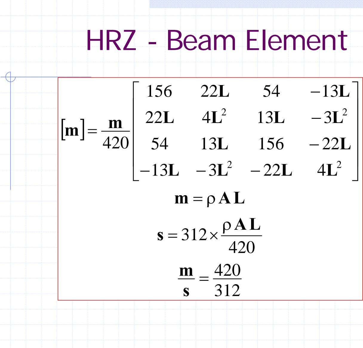 HRZ - Beam Element ⎡ 156 22 L 54 − 13 L ⎤ ⎢ ⎥