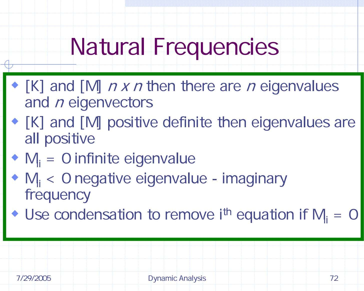 Natural Frequencies [K] and [M] n x n then there are n eigenvalues and n