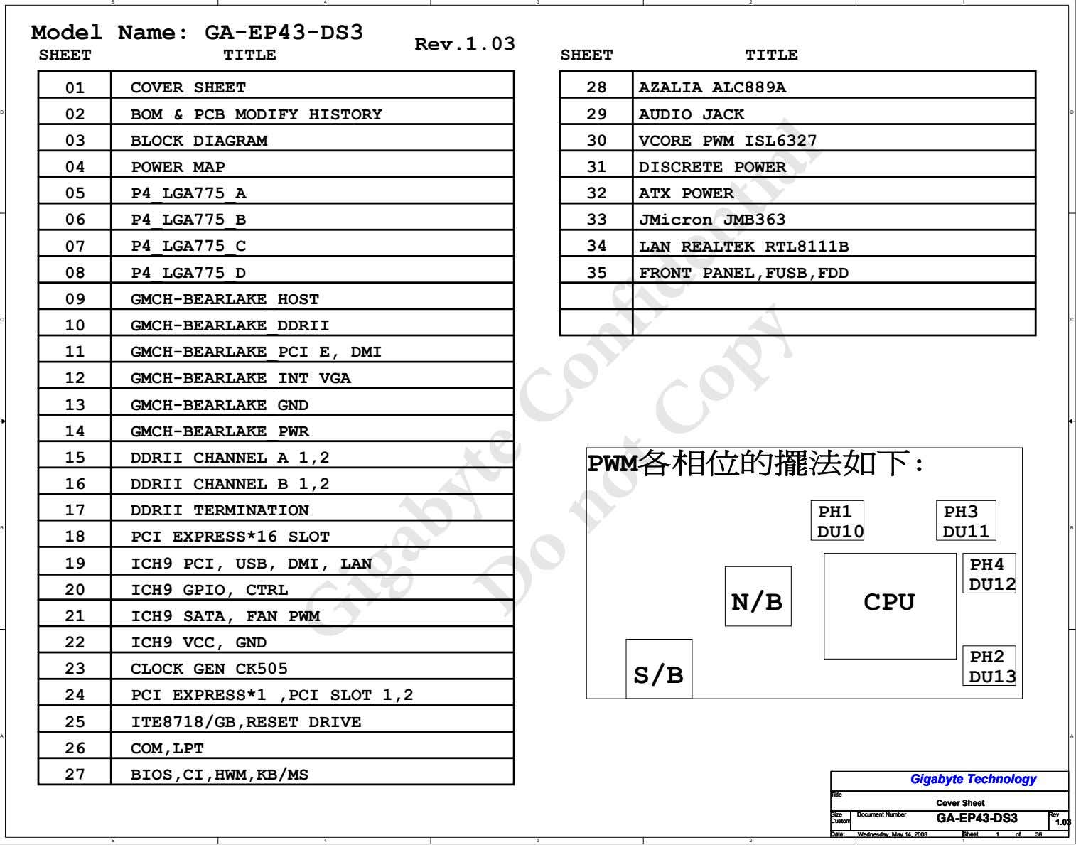 5 4 3 2 1 Model Name: GA-EP43-DS3 Rev.1.03 SHEET TITLE SHEET TITLE 01 COVER