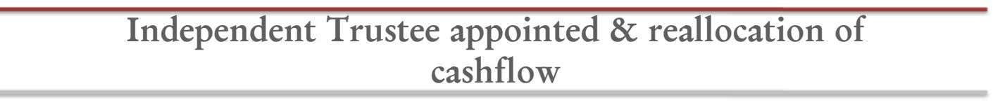 Independent Trustee appointed & reallocation of cashflow