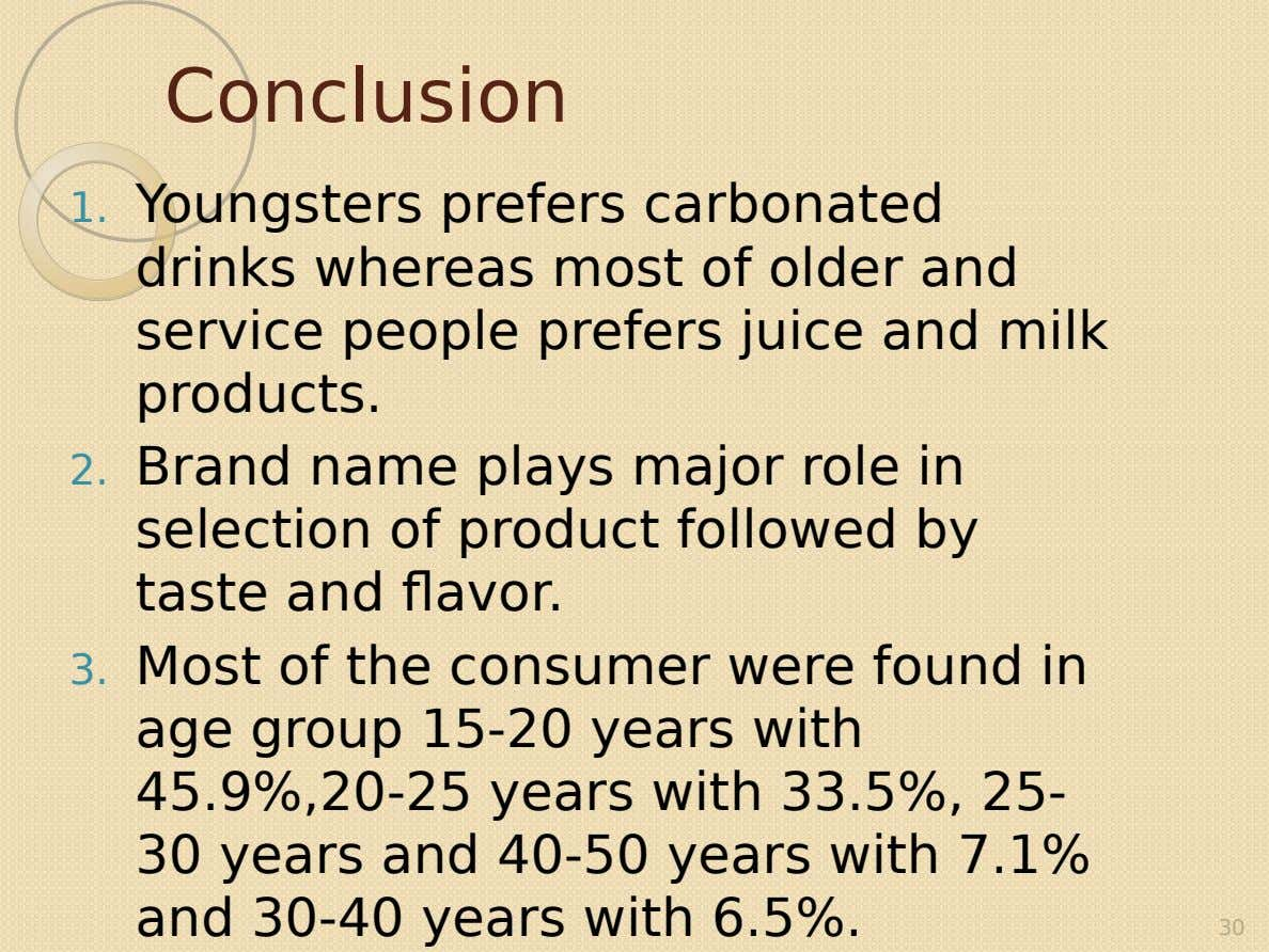 Conclusion 1. Youngsters prefers carbonated drinks whereas most of older and service people prefers juice and