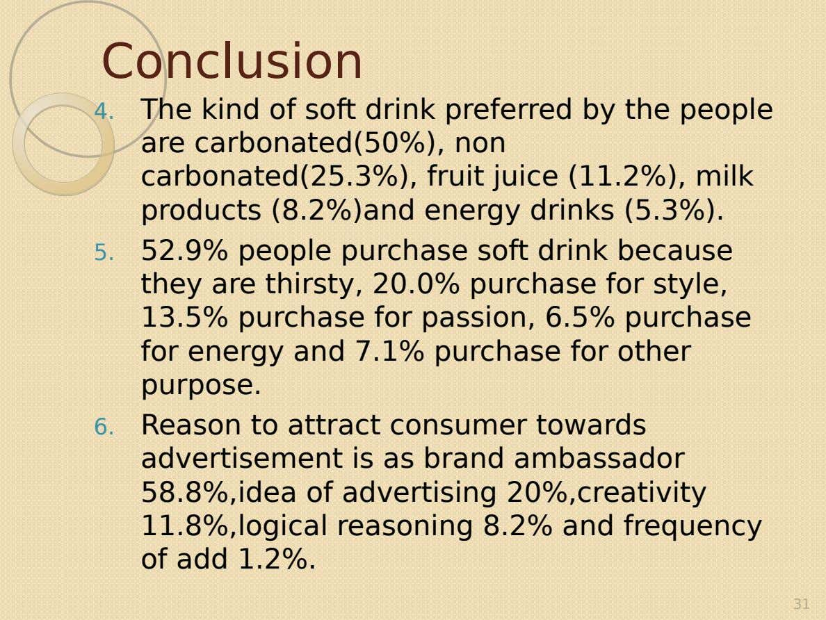 Conclusion 4. The kind of soft drink preferred by the people are carbonated(50%), non carbonated(25.3%), fruit