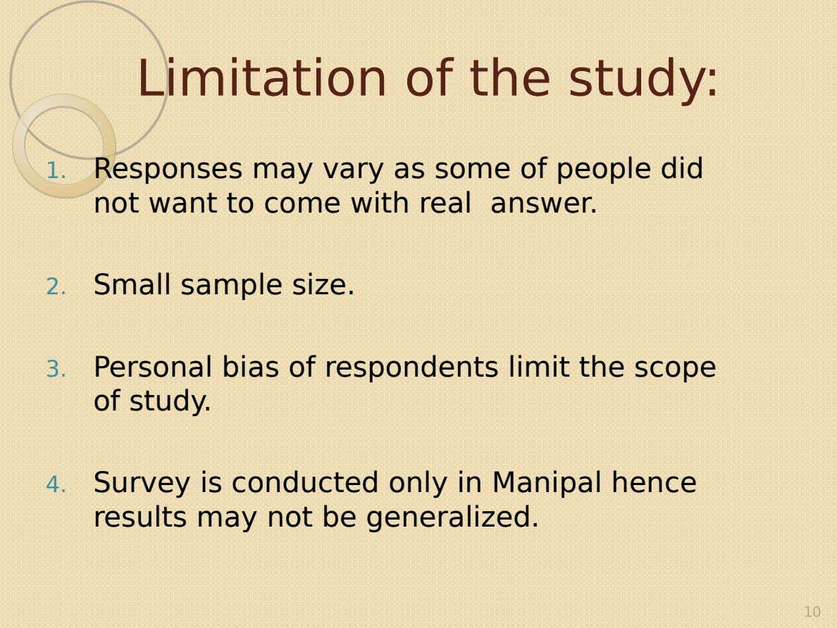 Limitation of the study: 1. Responses may vary as some of people did not want to