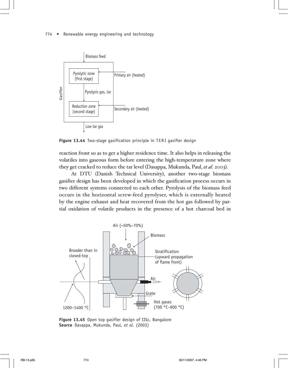 774 • Renewable energy engineering and technology Figure 13.44 Two-stage gasification principle in TERI gasifier