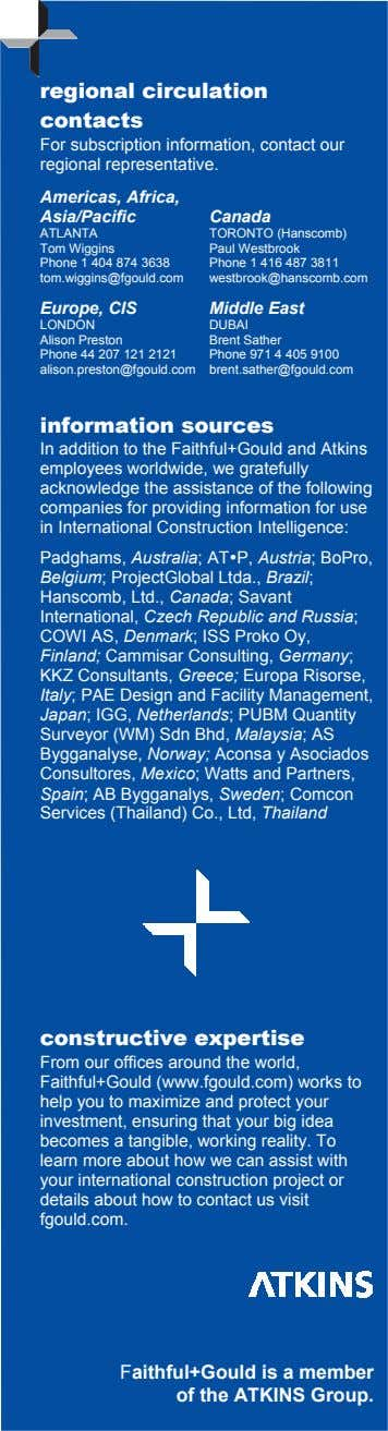 regional circulation contacts For subscription information, contact our regional representative. Americas, Africa,