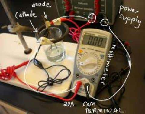 — make sure they are not rusty. Figure 1. Electrodes and clips Figure 2. Electrolysis setup