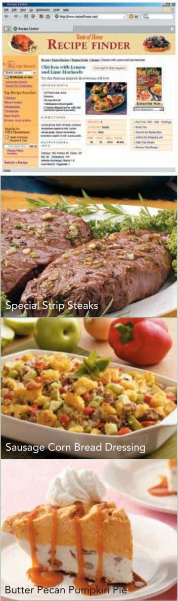Special Strip Steaks Sausage Corn Bread Dressing Butter Pecan Pumpkin Pie