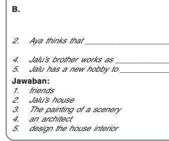 B. 1. 2. Aya thinks that 3. 4. Jalu's brother works as 5. Jalu has