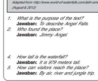1. What is the purpose of the text? Jawaban: To describe Angel Falls. 2. Who