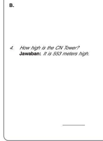 B. 1. 2. 3. 4. How high is the CN Tower? Jawaban: It is 553