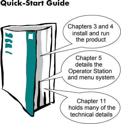 Quick-Start Guide Chapters 3 and 4 install and run the product Chapter 5 details the