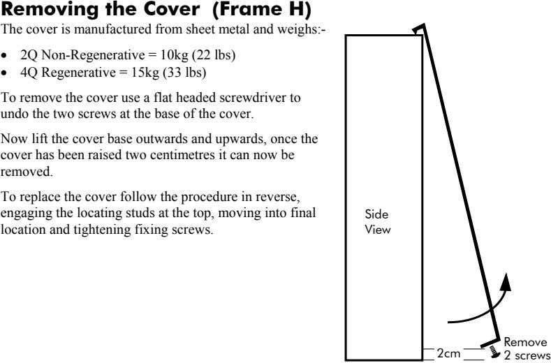 Removing the Cover (Frame H) The cover is manufactured from sheet metal and weighs:- •