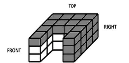 consisting of identical blocks as shown below are removed?   A. 20 B. 16 C. 10