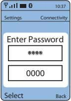 10:37 Settings Connectivity Enter Password **** 0000 Select Back