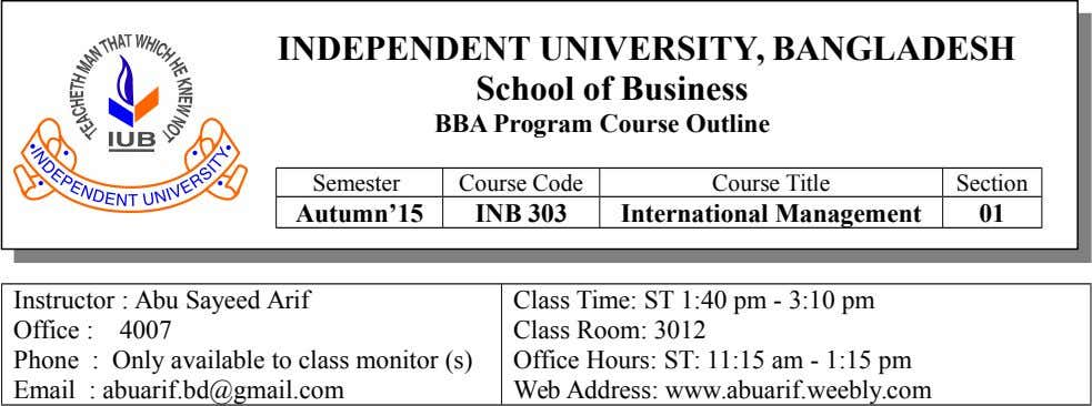 INDEPENDENT UNIVERSITY, BANGLADESH School of Business BBA Program Course Outline Semester Course Code Course Title Section