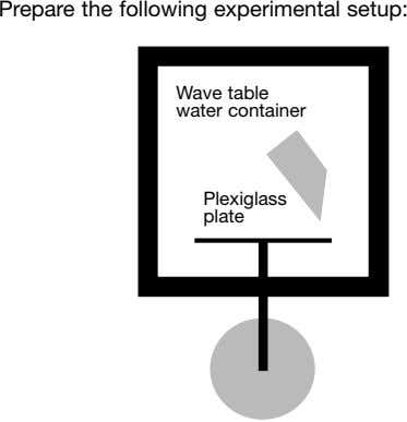 Prepare the following experimental setup: Wave table water container Plexiglass plate