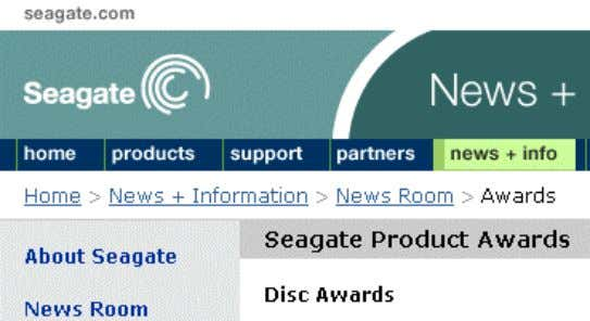 from http://www.s eagate.com/newsinfo/newsroom/awards/ In this case, Awards is the current location. It is the