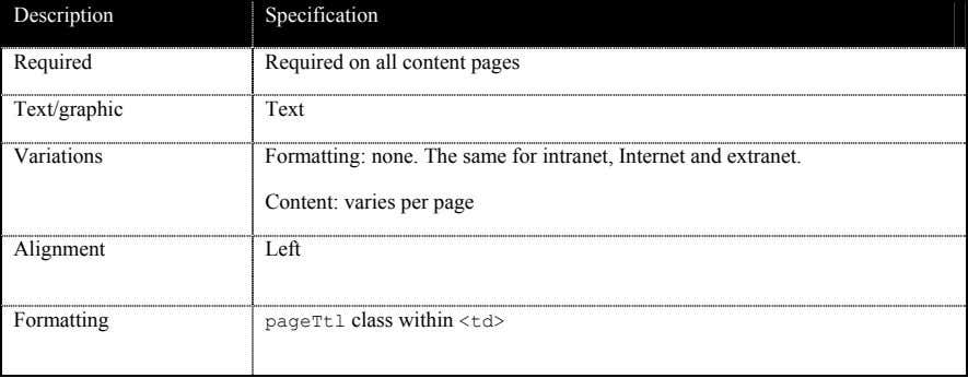 Description Specification Required Required on all content pages Text/graphic Text Variations Formatting: none. The