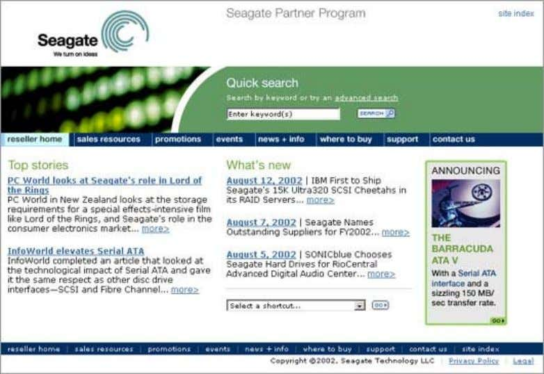 Web Style Guide Copyright Seagate Technology LLC 4/7/2003 Section door Drilling down from the home page,
