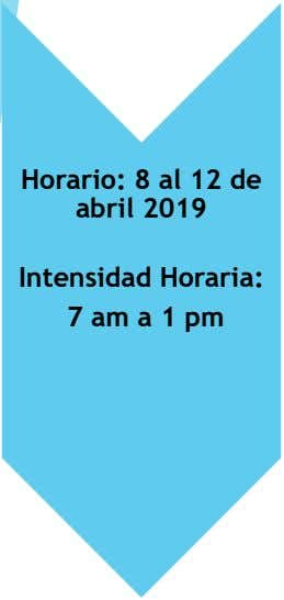 Horario: 8 al 12 de abril 2019 Intensidad Horaria: 7 am a 1 pm