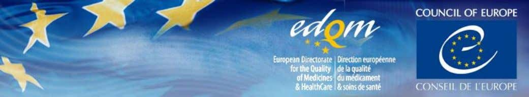 11-12 July 2017 – Location: EDQM Premises, Strasbourg, France PROGRAMME: TRAINING SESSION WEDNESDAY 12 JULY 2017