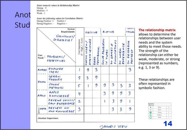 Another Example: Studying at the Uni The relationship matrix allows to determine the relationships between