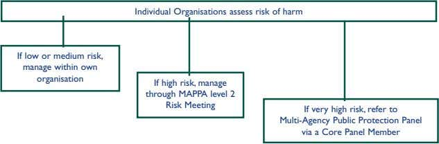 Individual Organisations assess risk of harm If low or medium risk, manage within own organisation If
