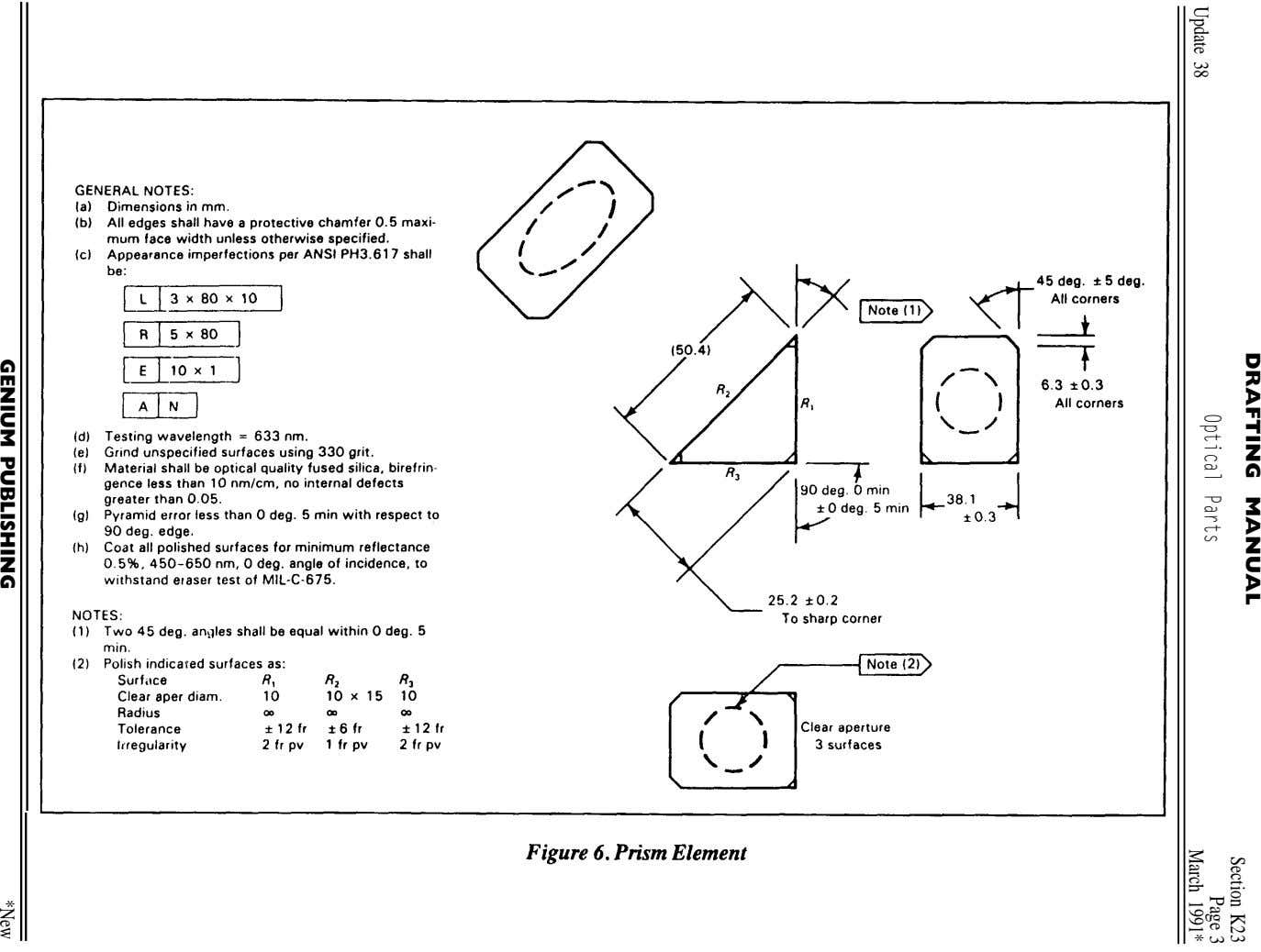 DRAFTING MANUAL Section K23 Optical Parts Update 38 March Page 1991* 3 PUBLISHING *NewGENIUM