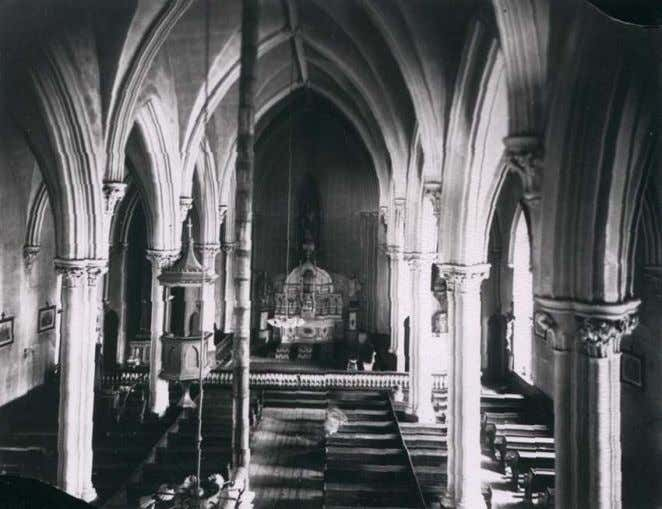 Pictures of the first stone church, built in 1873-74, show a pulpit of stately appearance with