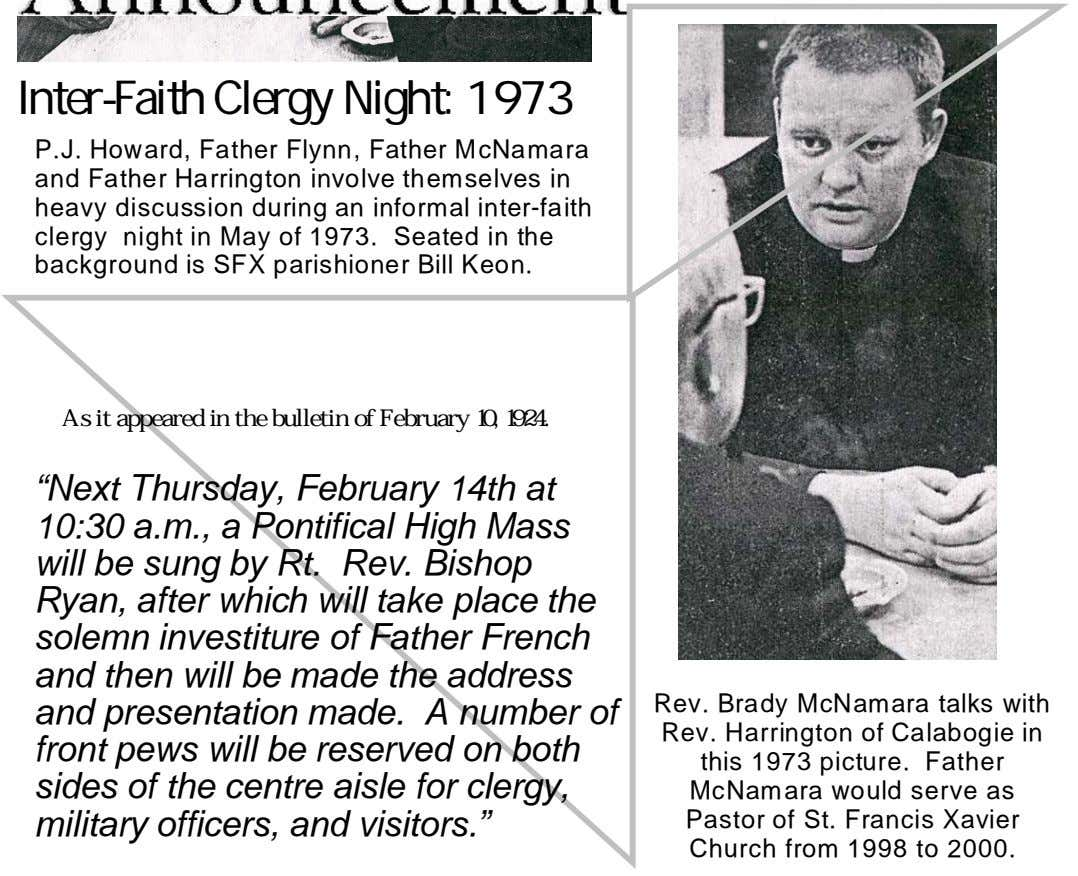 Inter-Faith Clergy Night: 1973 P.J. Howard, Father Flynn, Father McNamara and Father Harrington involve themselves in