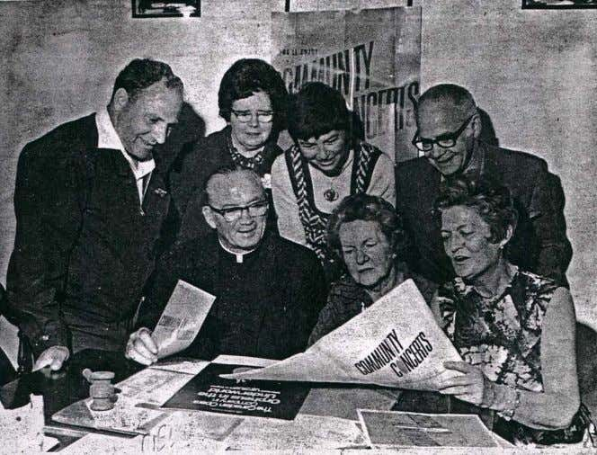The Renfrew Community Concerts Association prepares for their one-week campaign of 1971. Pictured above are, from