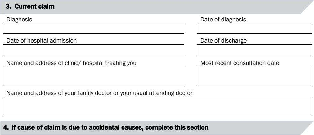 3. Current claim Diagnosis Date of diagnosis Date of hospital admission Date of discharge Name