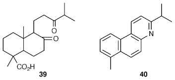 and hence of the double bond in the parent natural product. Manool 41 and manoyl oxide