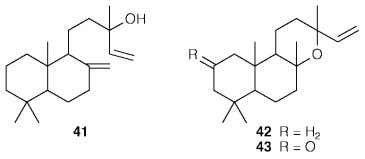 and manoyl oxide, served to locate the carbonyl group. Although triterpenes had been isolated in the
