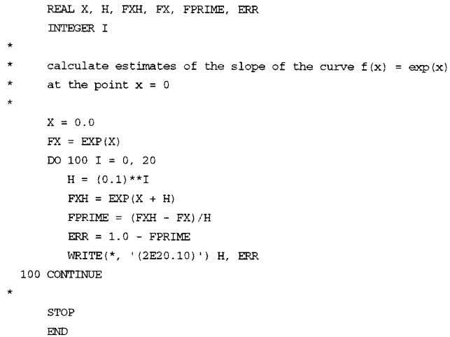 15 -56 Section 15 Consider the following simple FORTRAN program: This program evaluates forward difference estimates