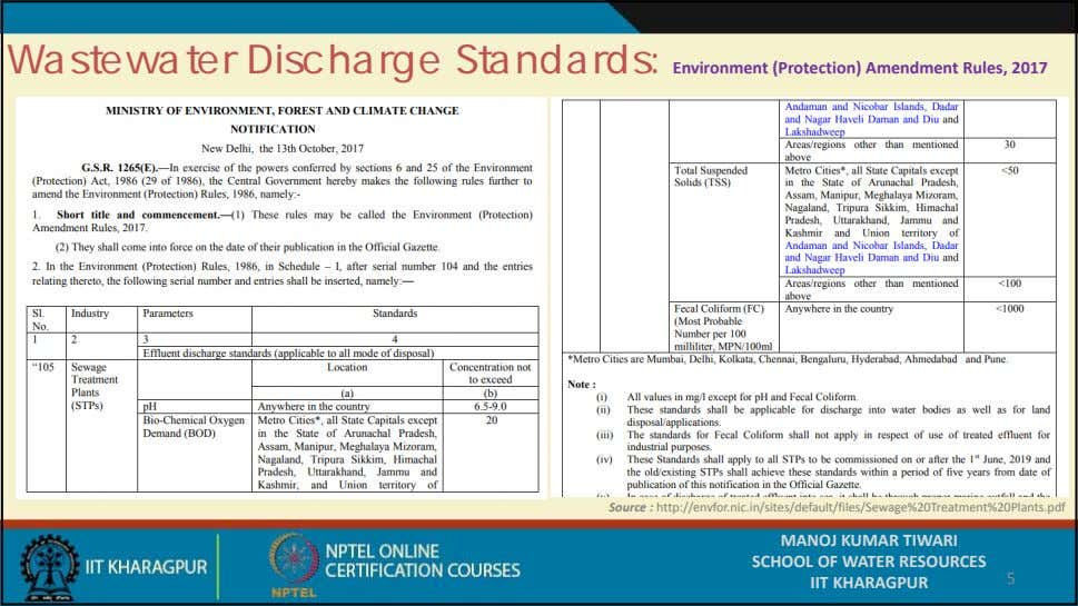 Wastewater Discharge Standards: Environment (Protection) Amendment Rules, 2017 Source :