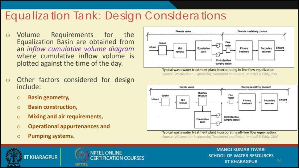 Equalization Tank: Design Considerations o Volume Requirements for the Equalization Basin are obtained from an